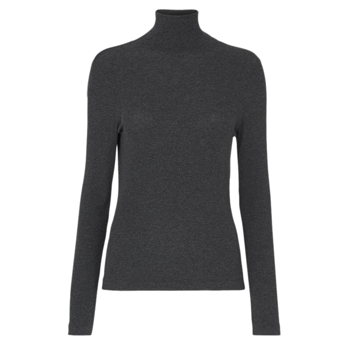 Whistles Grey Essential Polo Neck Top